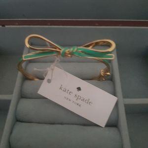 Kate Spade skinny Mini bow bangle green